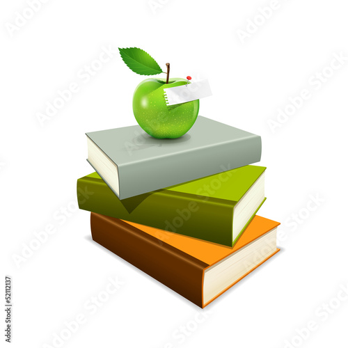 Colorful book and green apple, vector