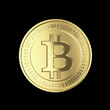 Golden Bitcoin on black - isolated with clipping path