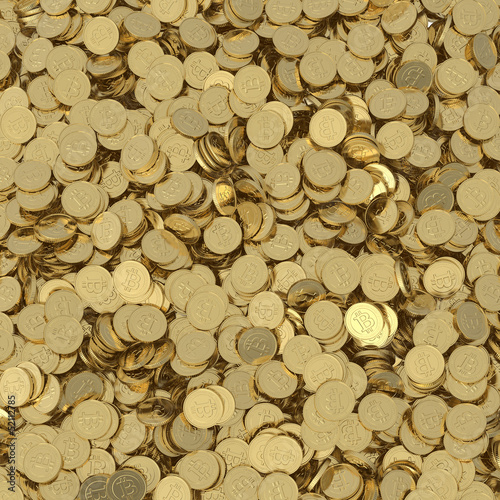 Golden Bitcoins background - clipping path