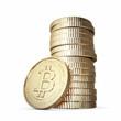 Golden Bitcoin isolated on white