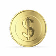 Golden dollar  on white bg -clipping path