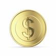 Golden dollar  on white bg -clipping path