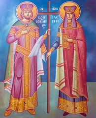 Saint Constantine and Helen fresco from a Greek Orthodox church