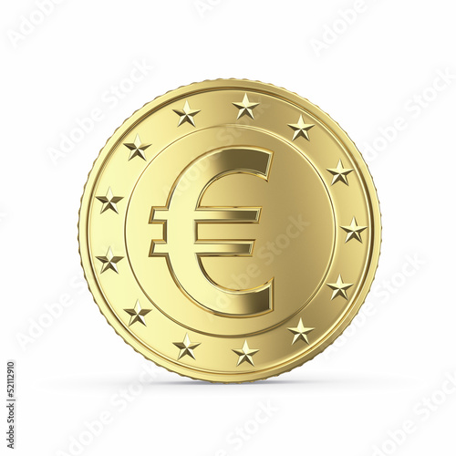 Golden euro coin isolated on white background with clipping path