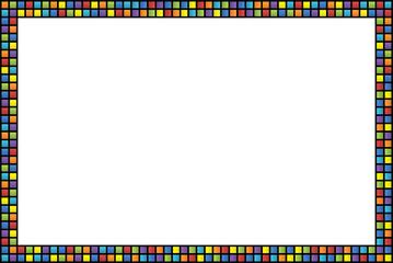 Cornice con bordo a quadretti colorati