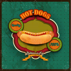 Hot dogs menu green background