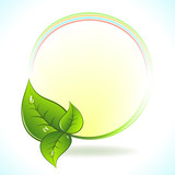 Green leaf vector label