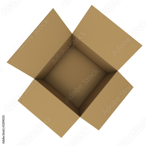 Empty cardboard box. Top view.