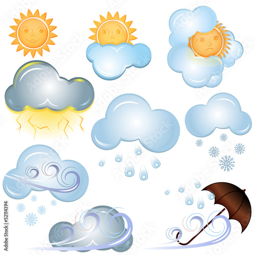 Vector weather signs isolated on white background.