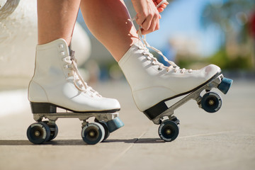 Close-up Of Legs With Roller Skating Shoe