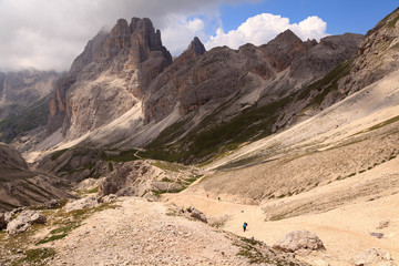View on footpath in Rosengarten, Dolomites