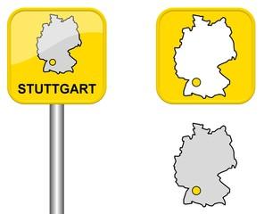Stuttgart - Ortsschild, Button und Deutschlandkarte