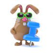 Chocolate bunny with blue tack