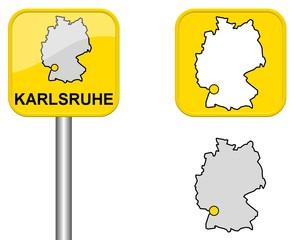 Karlsruhe - Ortsschild, Button und Deutschlandkarte
