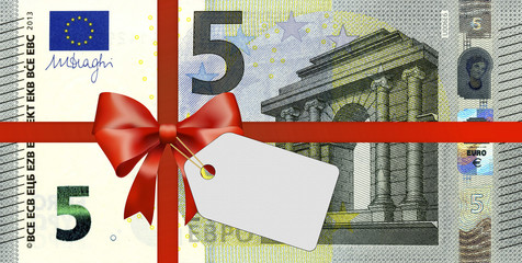 neuer 5 Euroschein mit Geschenkband und Label