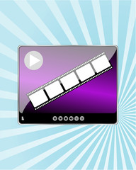 Video Movie Media Player on abstract blue ray background