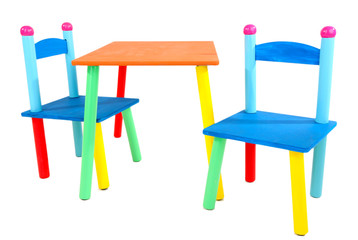 Small and colorful table and chairs for little kids isolated
