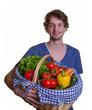 Junger Man mag Obst und Gemüse
