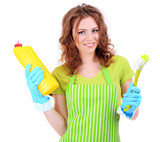 Young woman wearing rubber gloves with cleaning supplies,