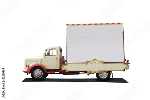 funny vintage truck with big advertising area