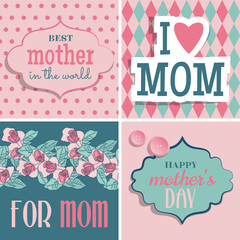 Set of retro cards for Mother's Day. Vector illustration