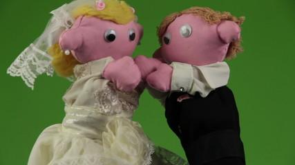 Wedding kiss puppets