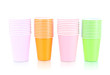 Cups in different color isolated on white
