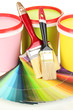 Set for painting: paint pots, brushes, palette of colors close