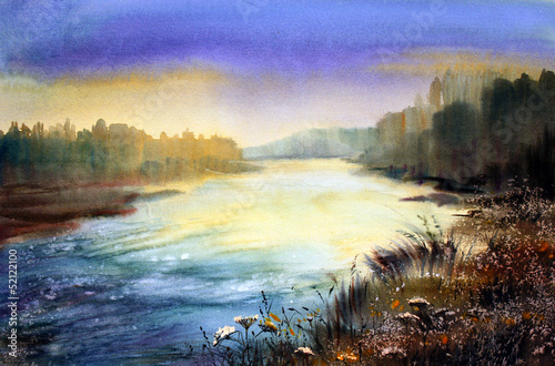 Mountain river in the morning painted by watercolor
