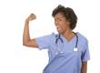 nurse flexing muscles