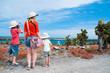Mother and kids hiking at Galapagos