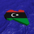 Libya map flag in abstract ocean illustration
