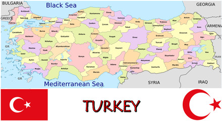 Turkey Europe Asia emblem map symbol administrative divisions