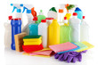 Different kinds of house cleaners and colorful sponges, gloves