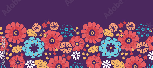 Vector colorful bouquet flowers horizontal seamless pattern