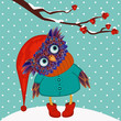 owl winter vector