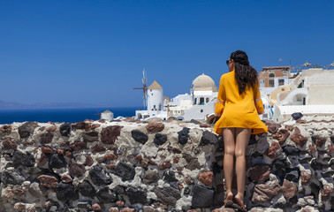 girl posing in Santorini island,Greece