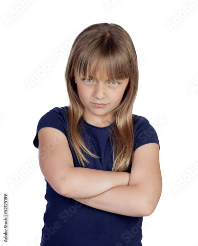 Angry girl with crossed arms