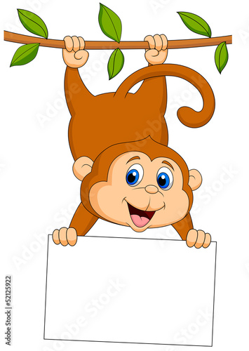Cute monkey with blank sign,