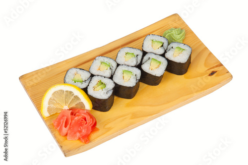 Sushi rolls with avocado isolated on white