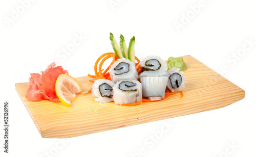 Sashimi with squid isolated on white