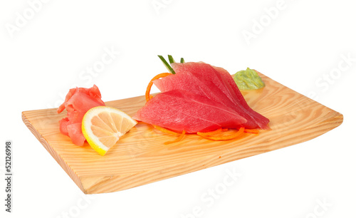 Sashimi with tuna isolated on white