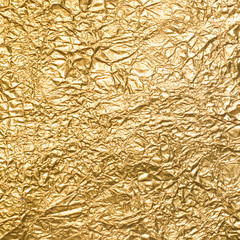 Background of crumpled gold foil