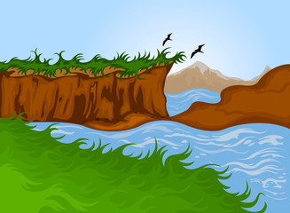 Beautiful nature cartoon landscape background