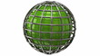 Rotating green globe on white background