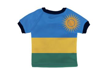Small shirt with Rwanda flag isolated on white background