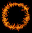 round of orange flame isolated on black