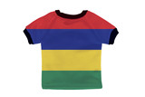 Small shirt with Mauritius flag isolated on white background