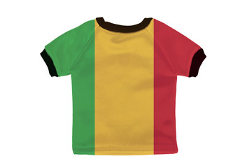Small shirt with Mali flag isolated on white background