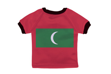 Small shirt with Maldives flag isolated on white background